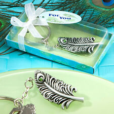 200 Peacock Feather Key Chain Bridal Shower Wedding Favor Sweet Sixteen Bundle