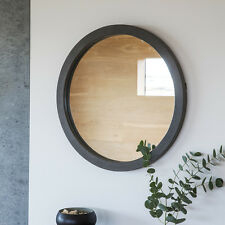 "Garfield faux concrete resin framed Round Statement Wall Mirror - 24"" Diameter"