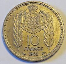FRANCE COIN Pièce monnaie MONACO 10 Francs 1946 LOUIS II Superbe Turin