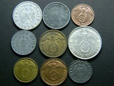 9 NAZI COINS 1935-1945: GERMAN THIRD REICH. LOT WW2.