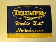 Vintage 1960s TRIUMPH World Best Motorcycle Bike Shop Advertisement Satin Banner