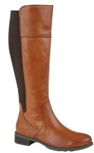 Ladies Long Boots Tan Leather Zip Fleeced Lined Cipriata SILVIA  Size 3-9 UK