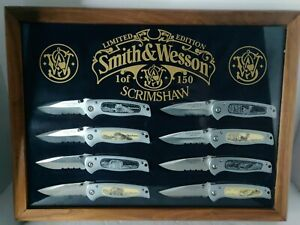 SMITH & WESSON Scrimshaw 8 Knives Lot Limited Edition Set 1 of 150 RARE Wildlife