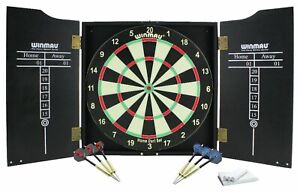 (TOP QUALITY) Winmau Home Double Sided Dartboard, Cabinet and Darts Set Pub Game