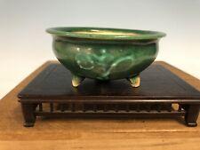 "Green Glazed Shohin Size Bonsai Tree Pot By Heian Kosen 4 1/16"""