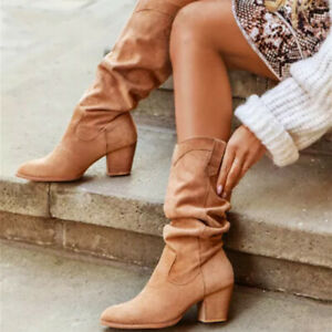 Womens Retro Pointed Toe Block Heels Slouch Shoes Autumn Cowboy Mid Calf Boots