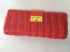 J.Crew Red Havana Straw Woven Clutch Purse Gold Buckle Patent Leather Trim NWOT