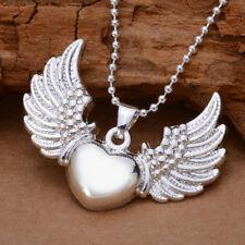 Anhänger Engel Flügel Silber Kette Schutzengel Herz Versilbert Charm Halskette