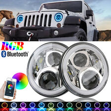 "2x 7"" RGB Halo Ring LED Headlight Bluetooth Phone App for GMC Ford Jeep Hummer"