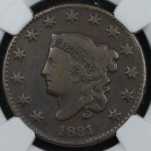 1831 Coronet Head Large Cent NGC VG8 N-11 with Reverse Cud