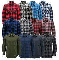 Men's Premium Cotton Button Up Long Sleeve Plaid Comfortable Flannel Shirt