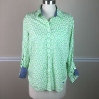 Talbots Womens Top Button Front Collared Green Teardrop Roll Tab Sleeve Size M