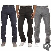 New Mens Enzo Straight Leg Jeans Designer Regular Fit Denim Trousers Pants