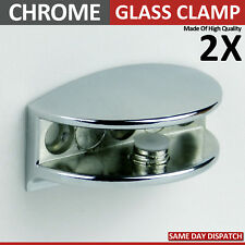2 ADJUSTABLE GLASS SHELF BRACKETS CHROME MIRROR EFFECT CLAMP SUPPORT 4 to 10 m