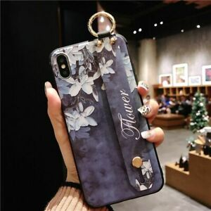 Wrist Strap Case For iPhone Band Cool Luxury Floral XS Max X XR 8 7 6 S Plus Art