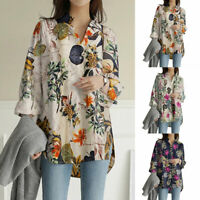 Women's Blouse Holiday Floral Casual Loose V Neck T Shirt Long Sleeve Tunic Tops