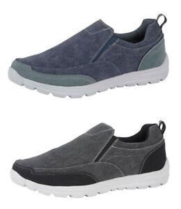 Mens Lightweight Shoes Slip On Canvas Pumps Memory Foam Denim Black Navy 6-12