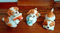 3 HOMCO #1405 and #1407 Spaniel Puppies Porcelain Figurines Home Interiors Vtg