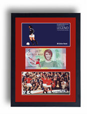 FRAMED GEORGE BEST FIVER NOTE £5 POUND MANCHESTER UTD BANKNOTE BOBBY CHARLTO