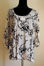 Theory size M Printed Cotton Tunic Blouse Top Ivory Black
