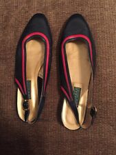 GUCCI Auth Red Navy Women Flat Slingbacks Vintage Shoe Size: us-8, eu-40