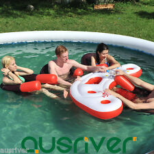 4 Person Inflatable Pool Bar Island Float Raft Water Party Drink Holder +4 Seats