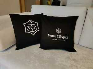 2 X New Veuve Clicquot Champagne Pillow Embroidered Set Of Rare Black