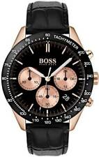 Hugo Boss HB 1513580 Talent Chronograph Black Dial Leather Band Men's Watch