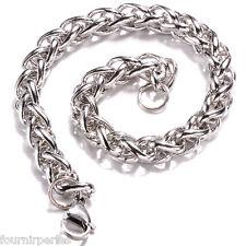 1 Bracelet Motif Tressé Argent Vieilli Fantastique Mode Bijoux Cadeau 21cm
