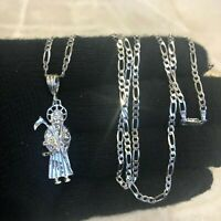"925 sterling silver real santa muerte Pendant 24""chain"