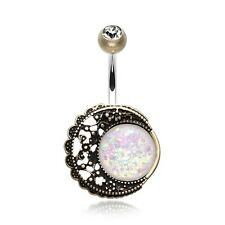 Vintage Boho Filigree Moon Opal Belly Ring Piercing Brass Clear White Copper