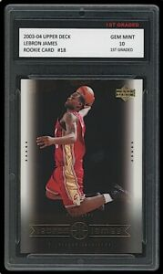 LEBRON JAMES 2003-04 UPPER DECK #18 1ST GRADED 10 ROOKIE CARD LAKERS/CAVALIERS
