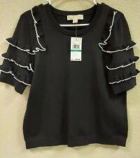 Michael Kors Black Ruffle Sleeve Top Size L MSRP $140