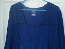 Avenue Smocked Empire waist Tunic Top Blouse Blue Plus Size 30/32 5x NWT