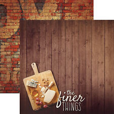 Paper House FINER THINGS 12x12 Dbl-Sided Scrapbook (2pc) Paper WINE CHEESE GRAPE