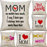8'' Mother Day Pattern Cotton Linen Pillow Case Cushion Cover Home Decor