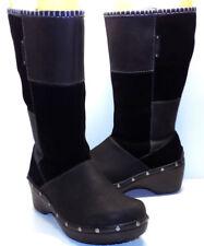 CROCS Patchwork Black Leather & Suede Boots Women's US Shoe Size 7M