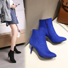 Women Solid Color Ankle Boots Suede Pointed Toe High Heel Fashion Side Zip Shoes