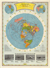 Flat Earth Air Age Map of the World 1948 Wall Art Poster Print Home Decor Office