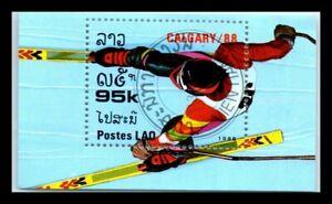 1988 LAOS Souvenir Sheet - Winter Olympic Games - Calgary, Canada N1