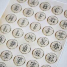 Lettres feuille autocollant alphabet décoration a-z - 35 autocollants anciens vintage
