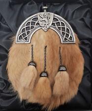 NEW BOXED Antique Celtic Lion Red Fox fur Kilt Sporran Made in Scotland