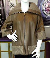 Luxus Designer Damen echte Lederjacke m großem Strickkragen Gr.40,42,44/46  NEU