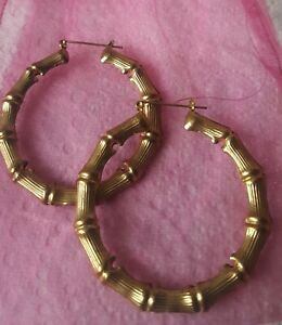 RETRO  Bamboo Hoops ROCKABILLY 50's PINUP gold tone bamboo hoops