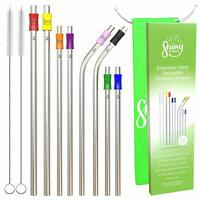 Stainless Steel Straws - Reusable Metal Straw - (10 pack) - with Silicone Lid