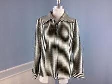 AKRIS PUNTO Black White Stripe Blazer Jacket 100% Wool Excellent Full Zip M 10