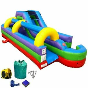 34'L Rainbow Commercial Inflatable Water Slide & Slip n Slide Combo With Blower