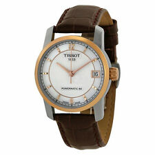 New Tissot Titanium  Brown Leather Strap Women's Automatic Watch T0872075611700