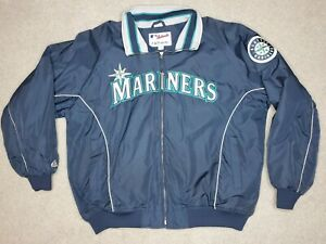 VINTAGE SEATTLE MARINERS MAJESTIC AUTHENTIC COLLEC. STITCHED JACKET MENS XXLARGE