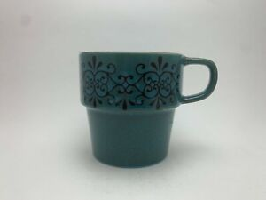Pier 1 Imports Floral Teal Stoneware 12 oz. Coffee/Tea Cup/Mug FREE SHIPPING